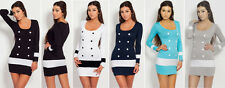 Womens Scoop Neck Knitted Jumper Bodycon Dress Tunic Top Mini Dress Size 4-12