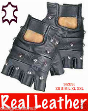 Studded Fingerless LEATHER Biker Punk Goth Wheelchair Driving Gym Cycling Gloves