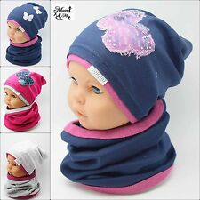NEW Cute Kids Toddler Girls Hat With Scarf Spring Stretchy Cotton Girls  Floral