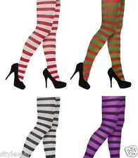Ladies Striped Full Foot Tights Fancy Dress Halloween Christmas Book Day Goth