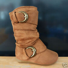 Baby & Toddler & Infant Tan Dress Casual Slouchy Flat Boots Size 7