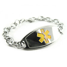 Ladies Womens Medical ID Bracelet Jewelry, ENGRAVED O-LINK Chain, Yellow i1C-BS2