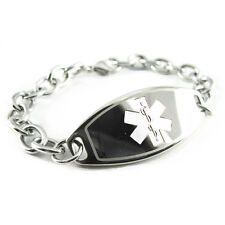 Womens Ladies Medical ID Bracelet Jewelry, ENGRAVED, O-LINK Chain, White i1C-BS2