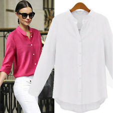 Women Casual Stand Collar Long Sleeve Chiffon Loose Blouse Tops Plus Size S-XXL
