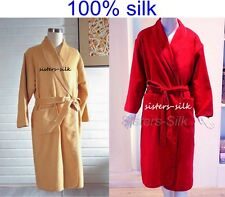 Mens 100% Pure Silk Robe Bathrobe Sleepwear Nightwear Lounge Wear Size S M L
