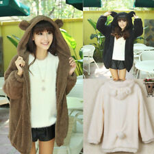Sweet Lady Girl Winter Warm Cute Teddy Bear Ear Coat Hoodie Jacket Outerwear