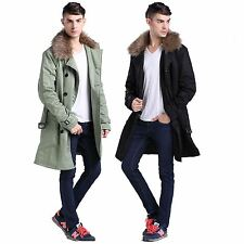 Easter Sale Gift Mens with Belt and Collar Faux Fur Wool Parka Jacket Coat PK002