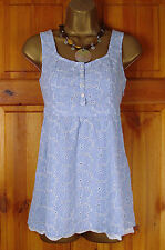 NEW FAT FACE BLUE WHITE STRIPED BRODERIE COTTON SUMMER CAMI TOP UK SIZE 8-18