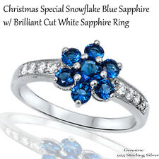 Unique Holiday Christmas Snowflake Blue Sapphire CZ Genuine Sterling Silver Ring