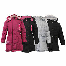 girls jacket kids coat hello kitty disney padded hooded quilted lined winter