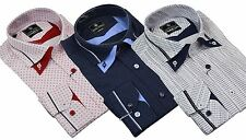 Mens Cotton Double Button Collar Shirt Italian Slim Fit Polka Paisley Stripe