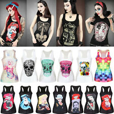 Sexy Women's Digital Print Vest Tank Top Gothic Punk Rock Sleeveless Tee Shirts