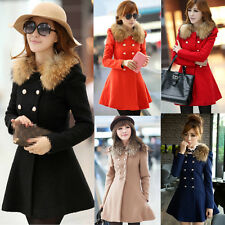 Women Winter Warm Wool Slim Fur Collar Coat Jacket Trench Parka Outwear Overcoat