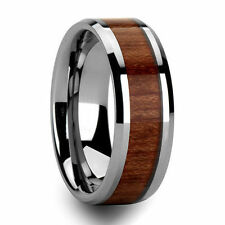 Tungsten Carbide Ring Men's Wedding Band Wood Inlaid Color Size 7-13
