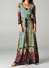 CHELSEA VERDE'S SHIFTING SEASONS Moroccan Mosaic #2 Boho Wrap Maxi Dress S-3X