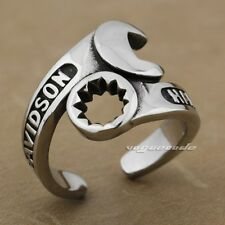 Cool 316L Stainless Steel Spanner & Wrench Mens Biker Ring AH01B