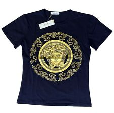 Brand New Authentic Black Versace T-Shirt Yellow Baroque Medusa Head XL
