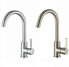 Brushed Steel Chrome Swan Neck Monobloc Mixer Tap Kitchen Basin Single Lever