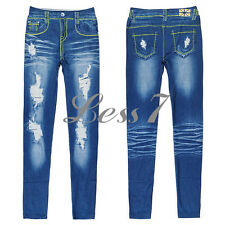 Fashion Ripped Denim Jeans Look Skinny Leggings Jeggings Pants Trousers