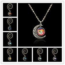 Magic Star Moon Universe Pendant Moonstone Constellation Crescent Necklace
