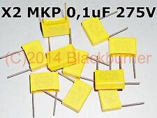 1,5,10x Kondensator 0,1uF 104K 275V AC Pitch 15mm MKP/MPX(X2) SR CAP Suppression