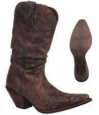 """NEW Durango Boots CRUSH Women's Brown 11"""" SLOUCH Leather Western Cowboy RD3553"""