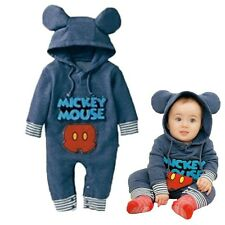 Cute Baby Boys Girls Infant Rompers Newborn Mickey Hooded Bodysuits 0-24 Months