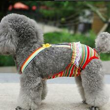 Female Pet Dog Colorful Striped Suspender Sanitary Diaper Briefs Size XXS-XL