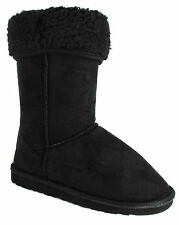 WOMENS LADIES BLACK MID CLAF FAUX SUEDE FUR LINED WINTER STYLE BOOTS SIZE UK 888