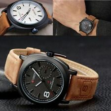 Men's Leather Strap Fashion Style Quartz Military Luminous Waterproof watch