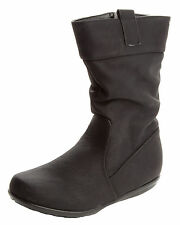 GIRLS BLACK SCHOOL SLOUCH MID CALF CASUAL WINTER BOOTS WITH SIDE ZIP UK SIZE 8-1