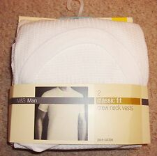 MENS 2 PACK OF CLASSIC FIT PURE COTTON WAFFLE TEXTURE VESTS FROM M&S BNWT