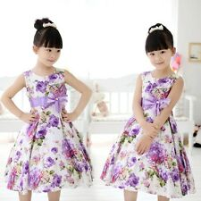 Baby Girls Kids Princess Wedding Party Purple Flower Bow Gown Formal Dress 2-11Y