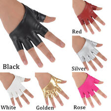Fashion Ladies Half Finger PU Leather Gloves Fingerless Dancing Show Palm New