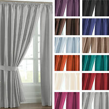 Dreamscene Faux Silk Blackout Ready Made Pencil Pleat Curtains with Tie Backs