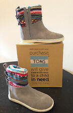 Toms Grey Stripe Knit Youth Nepal Boots Girls Multiple Sizes