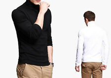 Fashion Mens Slim Fitted Simple T-shirt Long Sleeve Turtleneck High Elasticity