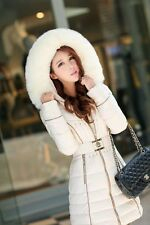 Winter elegant Women sexy Long Fur Collar Hooded Coat down-Jacket Parka outwear