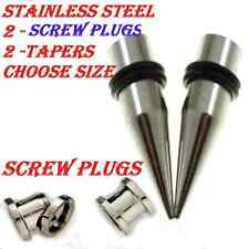 2 TAPERS-2 SCEW PLUGS-Ear Stretching-Ear Stretching Tapers -Ear Gauges-Ear Plugs