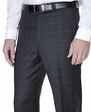 Ralph Lauren Charcoal Gray Glen Plaid Windowpane Flat Front Wool Dress Pants