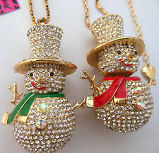 Betsey Johnson 2-color high-quality enamel necklace sparkling crystal snowman