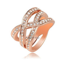 Simple Wave Shape Czech Drill Inlay Jewelry Rose Gold Plated Ring Size 5.5-10