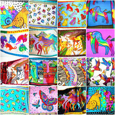 100% Silk Multicolor Abstract Animals Pattern Soft Long Shawl Scarf Stole Wrap