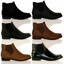 D9Y New Womens Fashion Chelsea Ankle Boots Flat Casual Girls Ladies Shoes Size