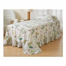 NEW Twin Full Butterfly Fern Bedspread Blanket Coverlet Vintage Ruffle Chic NWT