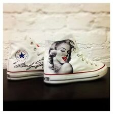 Scarpe Converse Bianche High Alte Paint Customizzate Disegnate Marilyn Monroe