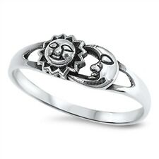 .925 Sterling Silver Classic Sun and Moon Fashion Ring Size 4 5 6 7 8 9 NEW