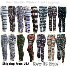 New  Print New Winter Thick Warm Fleece Lined  Stretchy Leggings Tit Pants