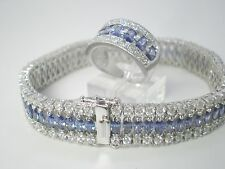 Tanzanite Marquis Cut Tennis Bracelet And Matching Ring .925 Sterling Silver WOW