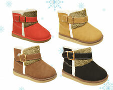 NEW Kids Girls Warm Winter Faux Fur Snow Boots Fur Lined Velcro Ankle Shoes Ugg